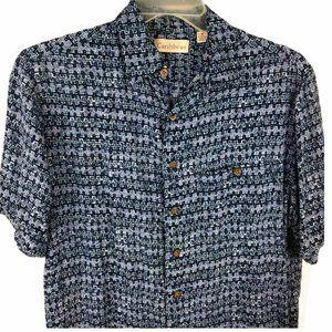 Caribbean Hawaiian Button Shirt Men M Blue Camp